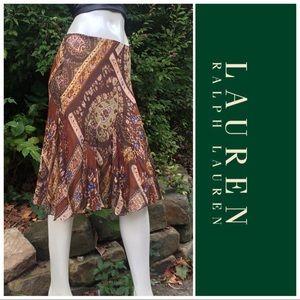 Ralph Lauren Chiffon Full Skirt Paisley Print